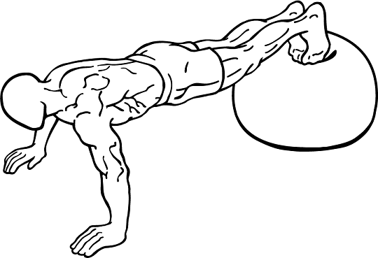 Push up with feet on an exercise ball 1